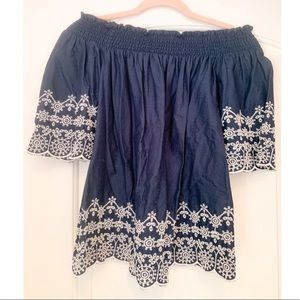 Abercrombie Off the Shoulder Embroidered Blouse